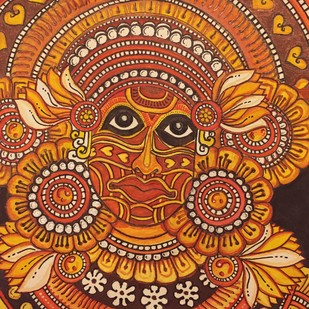 Theyyam Mural by Rahul S, Folk Painting, Pen, pencil, watercolour on paper, Brown color