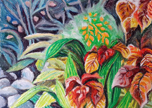 Foliage by Shalini Sinha, Impressionism Painting, Oil Pastel on Paper, Green color