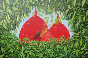 Blessings of Prosperity by Pankhi Saikia Nath, Expressionism Painting, Acrylic on Canvas, Green color
