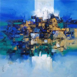 Cityscape by Arvind Kolapkar, Abstract Painting, Acrylic on Canvas, Blue color
