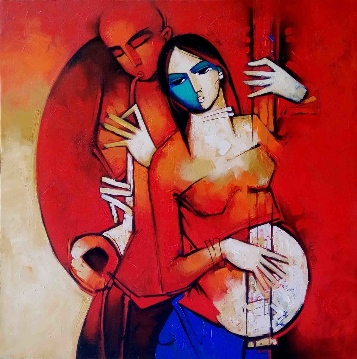 Couple7974 by Arvind Kolapkar, Traditional Painting, Acrylic on Canvas, Red color