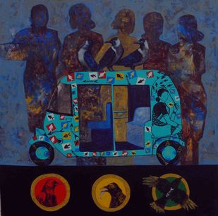 Signal by Harshada Kolapkar, Pop Art Painting, Acrylic on Canvas, Blue color