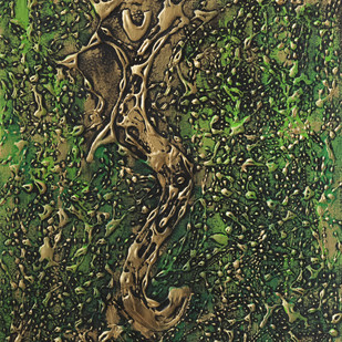 ganesha by Smita Biswas, Abstract Painting, Acrylic on Paper, Green color