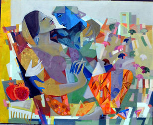 The swings by Madan Lal, Expressionism Painting, Acrylic on Canvas, Brown color