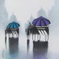 Rhythmic Monsoon Ride by Somnath Bothe, Impressionism Painting, Charcoal on Canvas, Gray color
