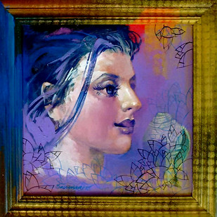 LADY 1 by Saumya Bandyopadhyay, Expressionism Painting, Acrylic on Canvas, Blue color