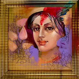 LADY 2 by Saumya Bandyopadhyay, Expressionism Painting, Acrylic on Canvas, Brown color