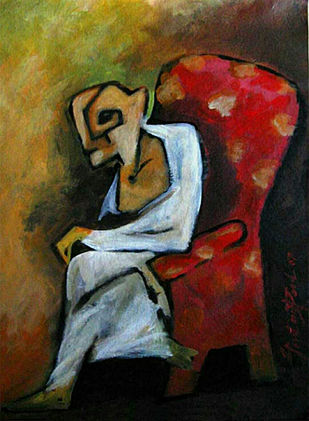 Old Man by Gautam Paul, Expressionism Painting, Acrylic on Paper, Brown color