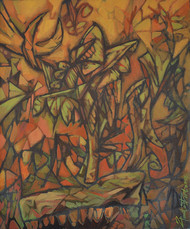 Life on earth 9 by Gautam Paul, Expressionism Painting, Acrylic on Canvas, Brown color