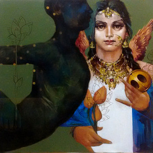 LADY 4 by Saumya Bandyopadhyay, Expressionism Painting, Acrylic on Canvas, Brown color