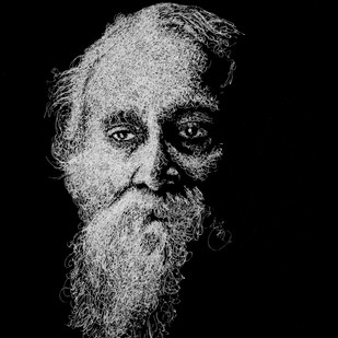 Rabindranath Tagore by Narendra Chauhan, Illustration Painting, Pen on Paper, Black color