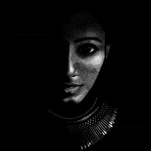 lady in black by Narendra Chauhan, Impressionism Painting, Pen on Paper, Black color