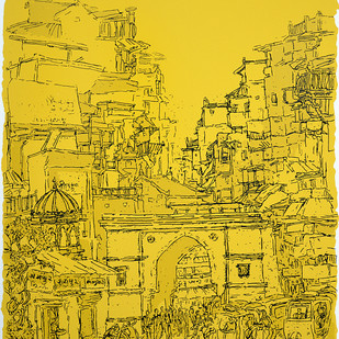 Raipur Darwaza by Vrindavan Solanki, Illustration Printmaking, Serigraph on Paper, Yellow color