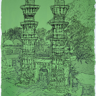 Jhulta Minaras by Vrindavan Solanki, Illustration Printmaking, Serigraph on Paper, Green color