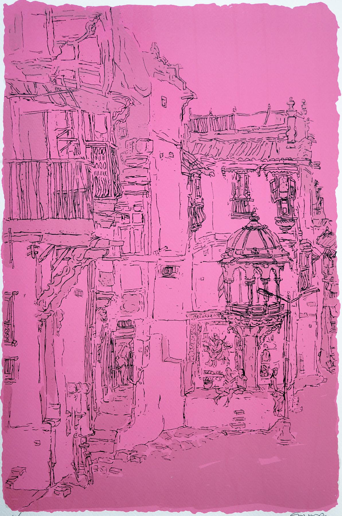 Old City - I by Vrindavan Solanki, Illustration Printmaking, Serigraph on Paper, Purple color