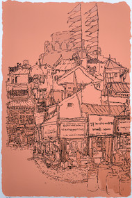 Manek Chowk by Vrindavan Solanki, Illustration Printmaking, Serigraph on Paper, Brown color