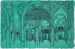 Sidi Saiyyed Mosque by Vrindavan Solanki, Illustration Printmaking, Serigraph on Paper, Cyan color