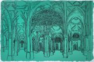 Sidi Saiyyed Mosque by Vrindavan Solanki, Illustration Printmaking, Serigraph on Paper, Cyan color