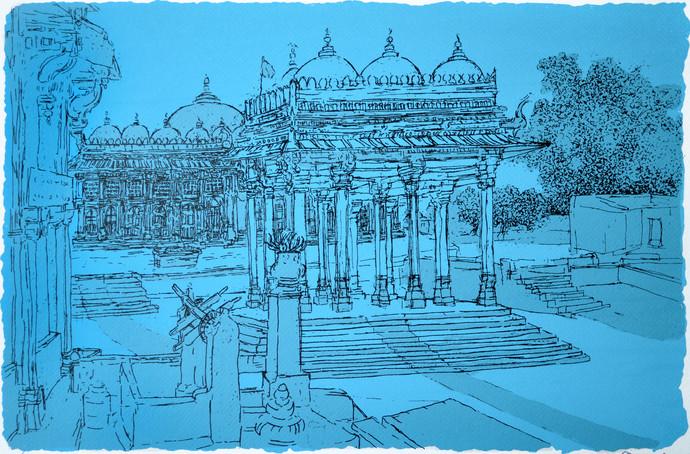 Sarkhej Roza by Vrindavan Solanki, Illustration Printmaking, Serigraph on Paper, Cyan color