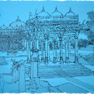 Sarkhej Roza by Vrindavan Solanki, Illustration Printmaking, Serigraph on Paper, Cyan color