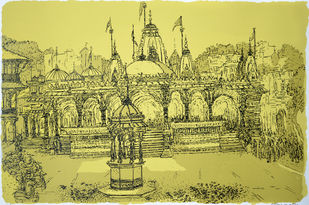 Kalupur Temple by Vrindavan Solanki, Illustration Printmaking, Serigraph on Paper, Beige color