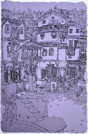 Old City - II by Vrindavan Solanki, Illustration Printmaking, Serigraph on Paper, Blue color