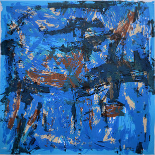 Untitled by Ajay Choudhury, Abstract Printmaking, Serigraph on Paper, Blue color