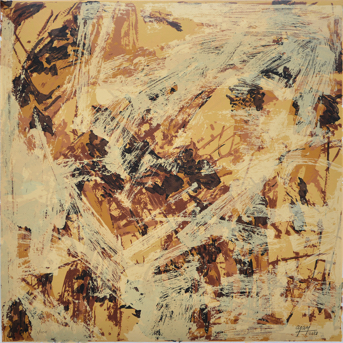 Untitled by Ajay Choudhury, Abstract Printmaking, Serigraph on Paper, Beige color