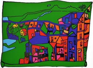 Encounters by B V Doshi, Geometrical Printmaking, Serigraph on Paper, Green color