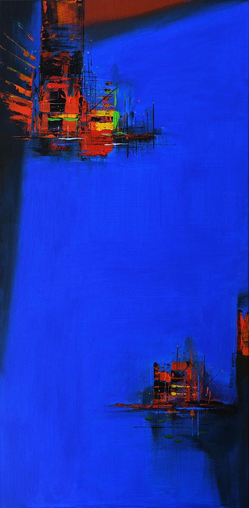 reflection by Gajanan Kashalkar, Abstract Painting, Acrylic on Canvas, Blue color