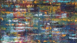 Water Expressions by Mahesh Sharma, Abstract Painting, Acrylic on Canvas, Brown color