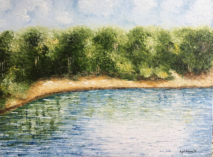 Reflections II by Kajal Nalwa, Impressionism Painting, Oil on Canvas, Green color