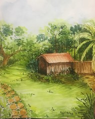 A hut in Goa by Kajal Nalwa, Impressionism Painting, Watercolor Wash on Paper, Green color