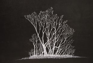 Dark Island by Vishwanath Bhat, Illustration Painting, Acrylic on Board, Gray color