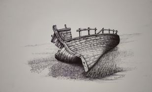 Dead end by Vishwanath Bhat, Illustration Drawing, Pen on Paper, Gray color