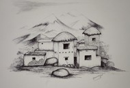 Live with Nature by Vishwanath Bhat, Illustration Drawing, Pen on Paper, Gray color