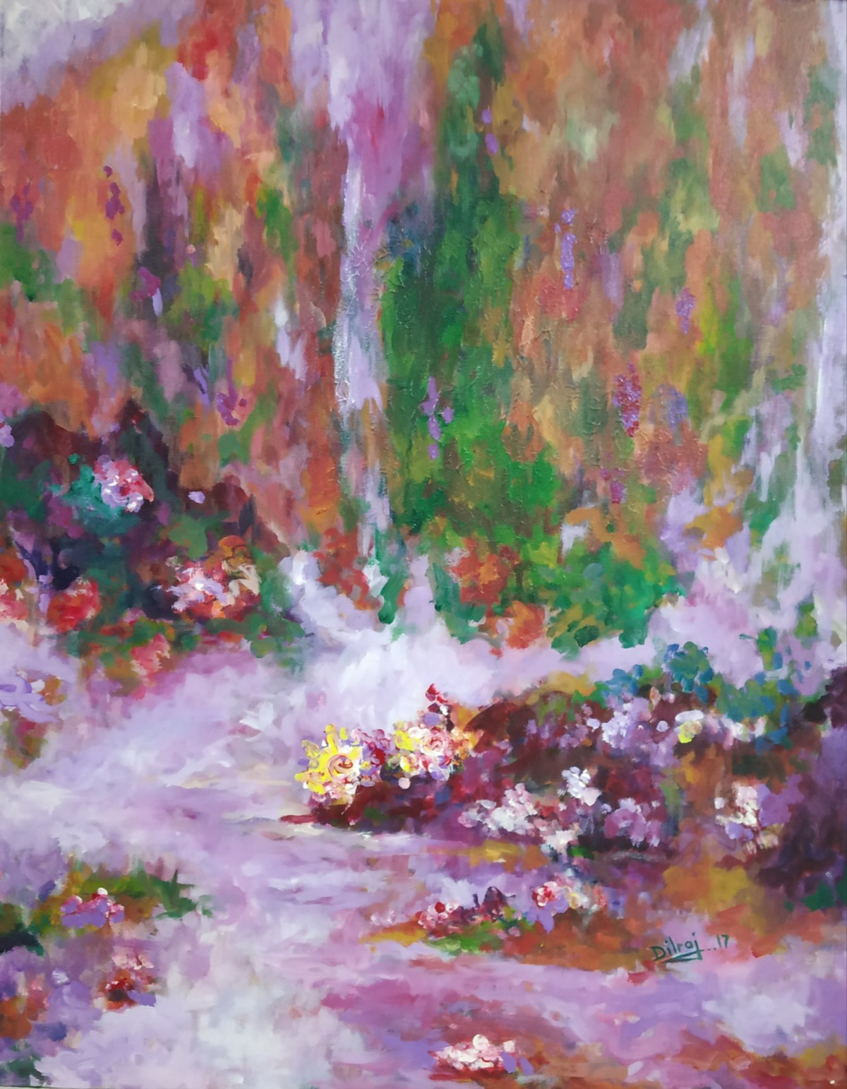 Misty garden by dilraj kaur, Abstract Painting, Acrylic on Canvas, Brown color