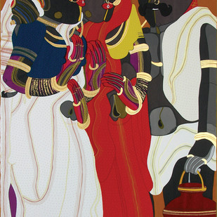 Telangana People by Thota Vaikuntam, Expressionism Printmaking, Serigraph on Paper, Brown color