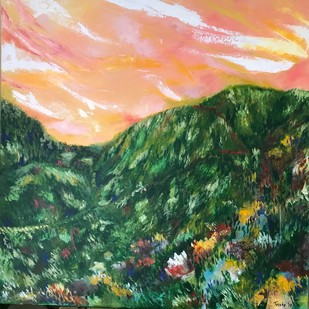 Sunset in the Valley by Tvesha Singh, Abstract Painting, Acrylic on Canvas, Green color