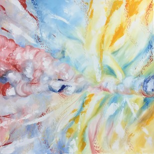 Collision No.1 by Tvesha Singh, Abstract Painting, Acrylic on Canvas, Beige color