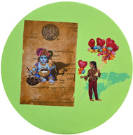 Ballon Saller with Krishna by Malchand Pareek, Expressionism Painting, Mixed Media on Canvas, Green color