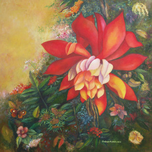 Tropical Garden by Debarati Roy Saha, Pop Art Painting, Oil on Canvas, Brown color