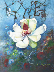 Magnolia by Debarati Roy Saha, Expressionism Painting, Oil on Canvas, Cyan color