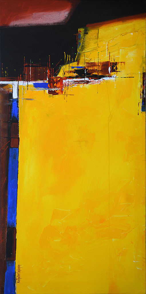 reflection 2 by Gajanan Kashalkar, Abstract Painting, Acrylic on Canvas, Yellow color