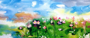 Lotus Pond by Jeyaprakash M, Impressionism Painting, Watercolor on Paper, Cyan color