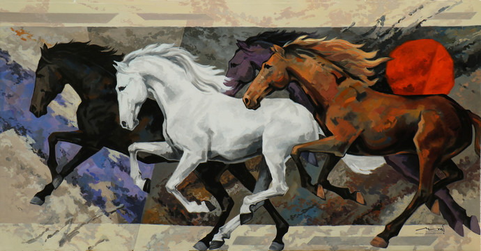 Horse Series -125 by Devidas Dharmadhikari, Expressionism Painting, Acrylic on Canvas, Brown color