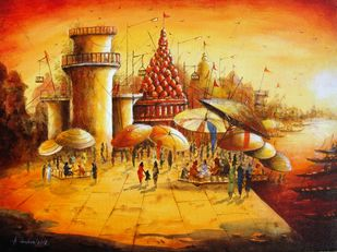 Vibrant Ghats of Varanasi-XVI by Anirban Seth, Impressionism Painting, Acrylic on Canvas, Brown color
