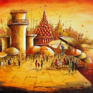 Vibrant Ghats of Varanasi-XVI by Anirban Seth, Impressionism Painting, Acrylic on Canvas, Brown color