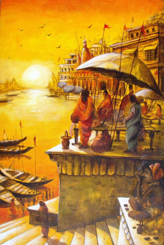 Vibrant Ghats of Varanasi - IX by Anirban Seth, Impressionism Painting, Acrylic on Canvas, Brown color