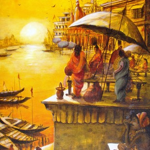 Vibrant Ghats of Varanasi - IX by Anirban Seth, Impressionism Painting, Acrylic on Canvas, Brown color